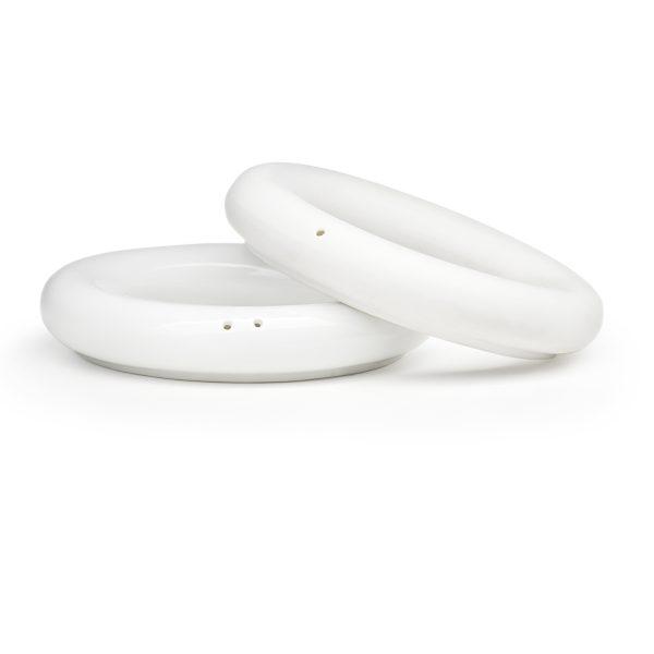 white ceramic rings salt and pepper shakers