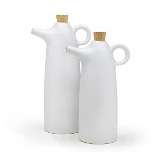 white stoneware oil and vinegar cruets