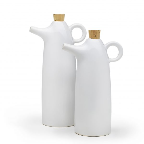white stoneware oil and vinegar cruets