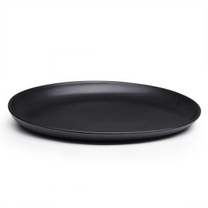 Round ceramic black serving plate