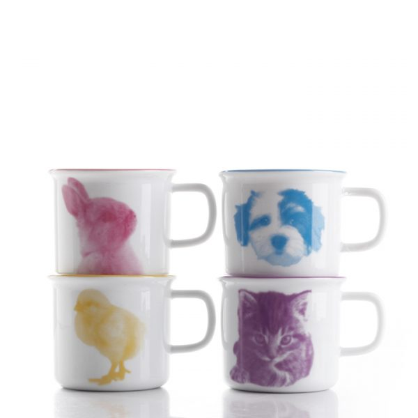 porcelain mugs with cat, dog, rabbit, chick