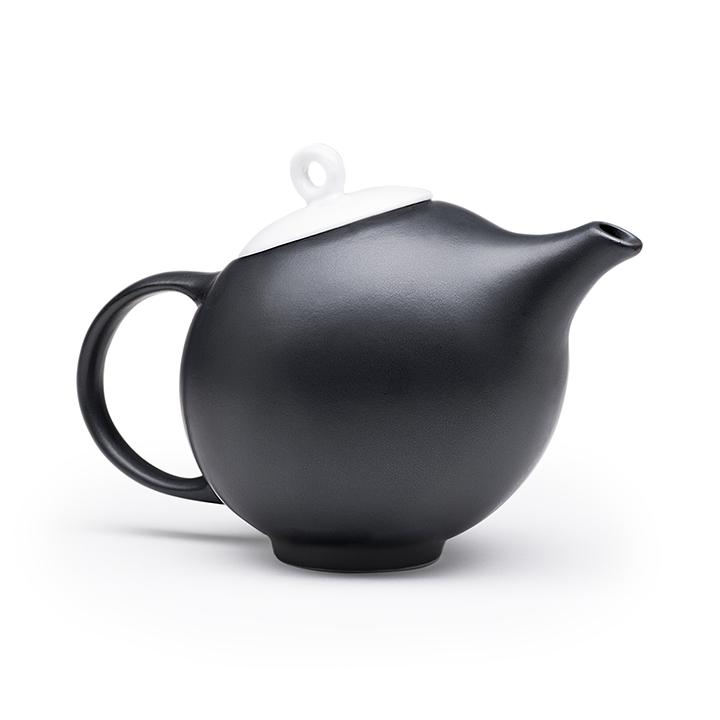Modern teapot design. Black & white ceramic. A tribute to
