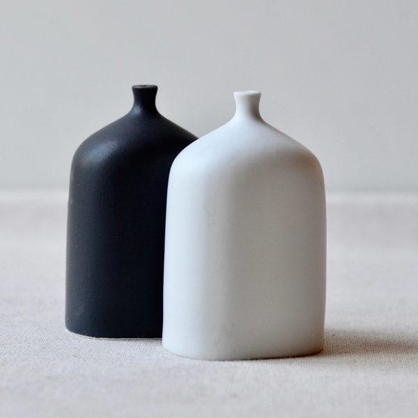 black and white bottle salt pepper